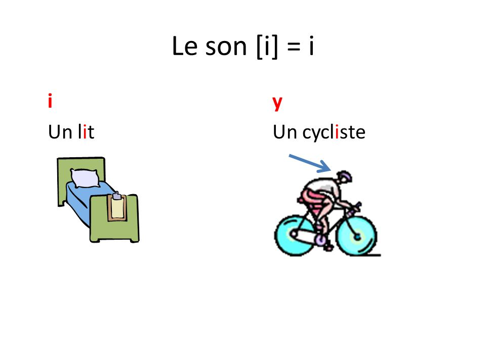 Le son [i] = i i y Un lit Un cycliste